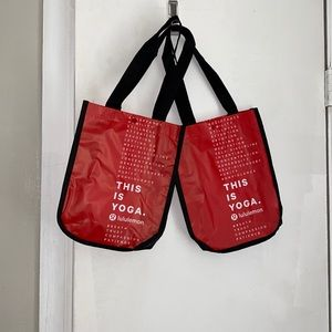 LULULEMON Red Small Tote Bags-Lot of 2 NEW